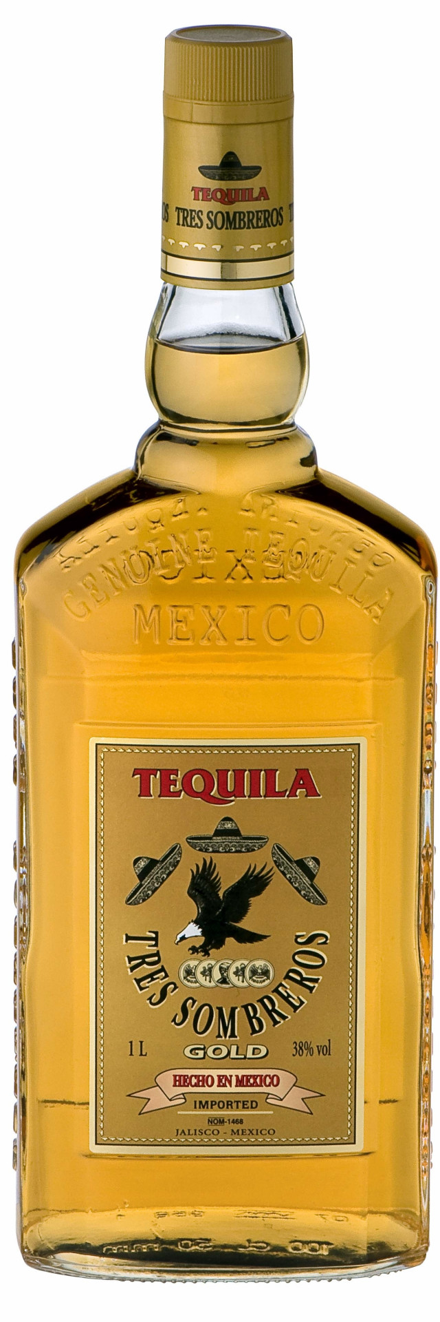 Tequila 3 Sombreros Gold 1l